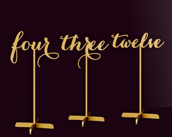 Table Numbers.Gold Table Numbers. Table Numbers with base.