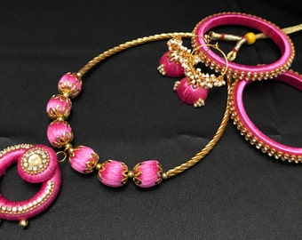 Pink Silk Thread Jewelry Set - Indian Jewelry - Indian Jewelry Set - Indian Bridal - Bollywood Jewelry Set - Jhumki Jhumka Earrings -
