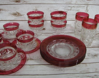SALE Kings Crown Glass~Ruby Glassware ~Vintage Red 20 Pieces~ Mugs w Saucers, Luncheon Plates, Tall Drinking Glasses, Sherbert/Compote Glass