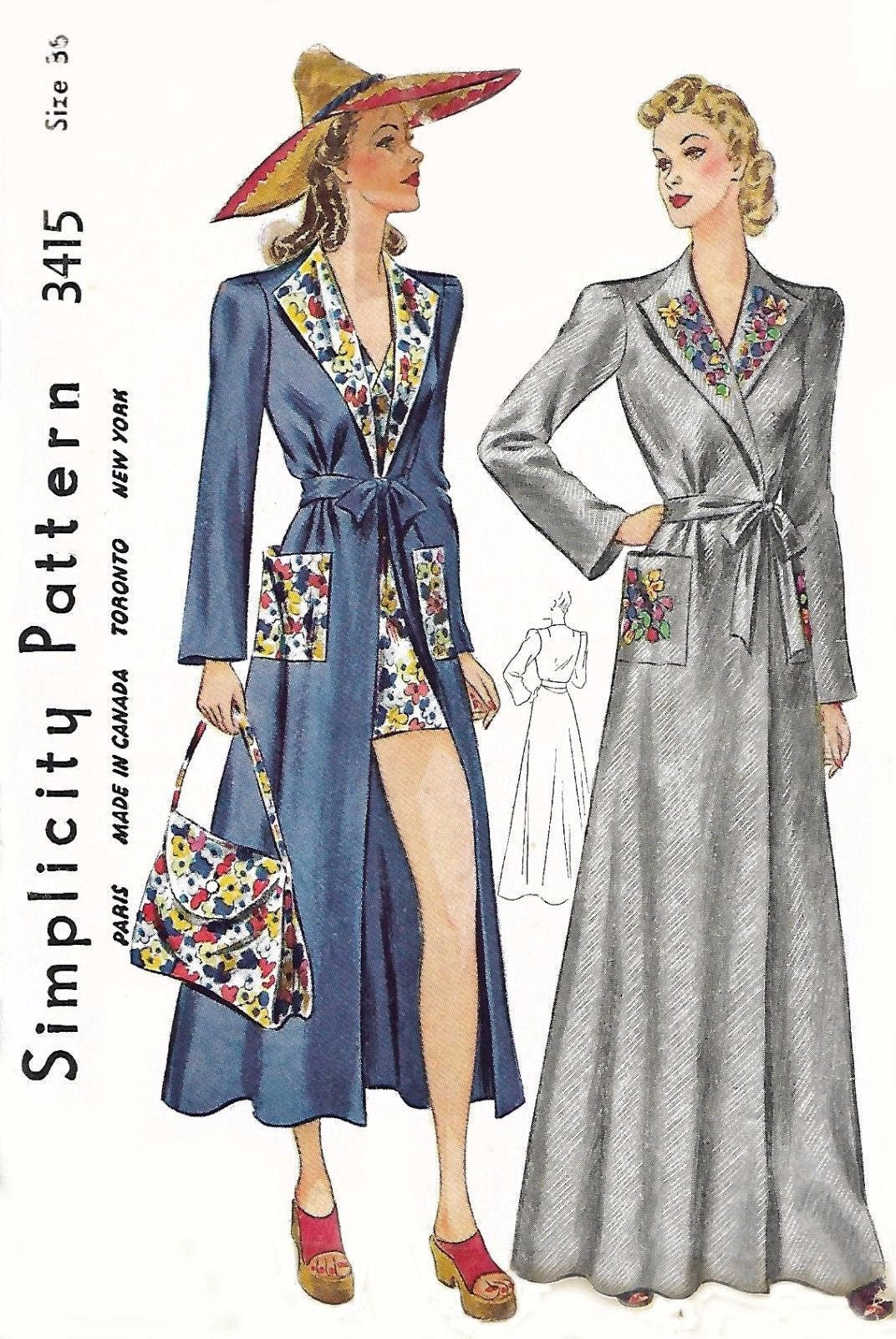 Vintage 1930s sewing pattern beach coat bag house coat robe sold by vintagesewbeeit jeuxipadfo Choice Image