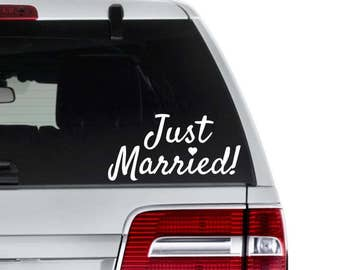 Just Married Decal - Wedding Car Decoration - Gift for Bride and Groom - Wedding Gift - Wedding Window Decal - Newly Wed Decal - Wedding Car