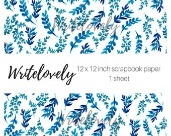 Blue Vintage Scrapbook Paper - Floral Paper -Digital Paper - Flower Paper - Digital Scrapbooking - Commercial Use