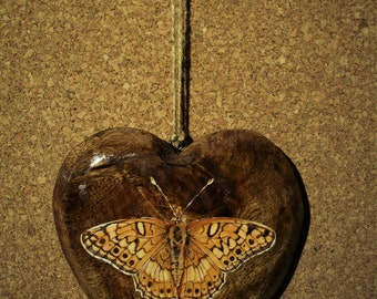 Variegated Fritillary Butterfly On A Wooden Heart - 14.5x14.5x2cm - Original Painting - Acrylic - Decorative Ornament