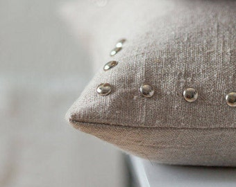 Linen pillow with studs / Studded  linen pillow / linen cushion with studs / linen pillow case / stonewashed linen cushion / lumodeco pillow