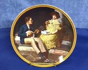 """Norman Rockwell """"Pondering on the Porch"""" Decorative Plate - 1982 - 740 J"""