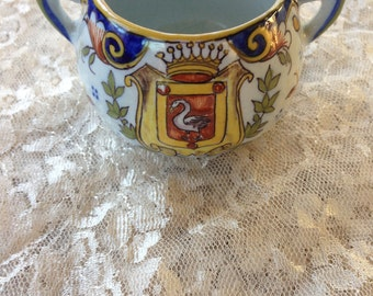 French Faience Cup/Hand Painted Cup/French Faience Swan Cup/Antique Creamer/French Antique Creamer