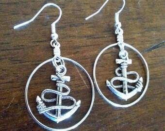 Anchor Dangle Hoop Earrings
