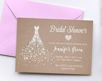 Printable Elegant Bridal Shower Invitation, Modern Bridal Shower Invitation, Unique Bridal Shower Invitation, Wedding Dress, Kraft Paper,