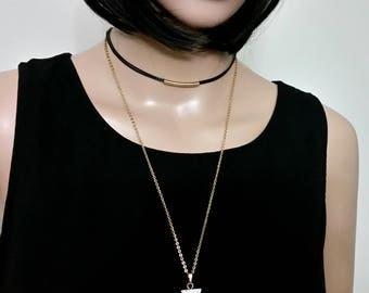 Double Strand Choker Necklace for Women, Gold Layered Chain Choker, Triangle Stone Pendant Women Choker Necklace, Bohemian  Women Necklace