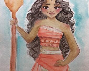 Moana Watercolor Sketch