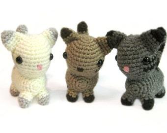 Crochet Amigurumi Cute Chibi Kawaii Cat Kitty Stuffed Animal Plush Toy Handmade