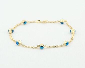 14K Evil Eye Dainty Gold Chain Bracelet/ Gold Link Chain Evil Eye Bracelet/ Evil Eye and Gold Layering Bracelet/ Graduation Gift