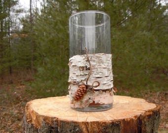 Birch bark Candle holder or Vase, with pine cone and Harry Lauder's Walking Stick trim