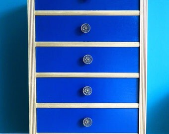 Solid Wood Blue and Gold Chest of Drawers