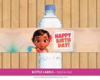 Moana Water Bottle Labels, Moana Printable Birthday Party, Moana Bottle Wrappers, Moana Party Supplies, Moana Party, Moana Printables