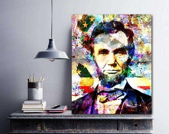 Abe Lincoln, Abraham Linclon, Lincoln Canvas Art, President Art, US History, Honest Abe, Original Lincoln Art Painting, Political Science