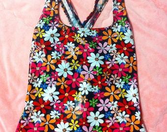 90s Vintage Colorful Rainbow Floral Daisy Print Top / Vintage Rainbow Floral Print Tank Top