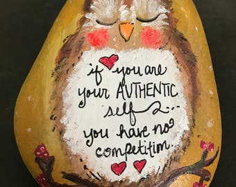 Inspirational Owl Art Painted Rock, Paperweight & Collectible
