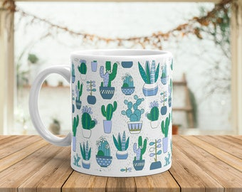 Cactus Mug Unique Cactus Pattern Coffee Mug Flower Pattern Coffee Mug Cactus Flower Pattern | Green Thumb | Gardening | Mug Witty Novelty