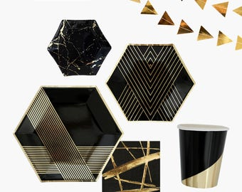 Black and Gold PARTY in a BOX KIT, Party Kit, Bridal Shower Kit, Party Kit,Party in a Box,Party Tableware Kit,Party Box,Black and Gold Party