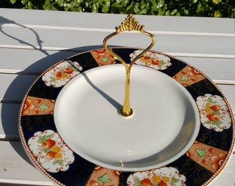 Vintage Single Cake Stand, Cake Plate , Woods & Sons, Napoli Pattern c 1910