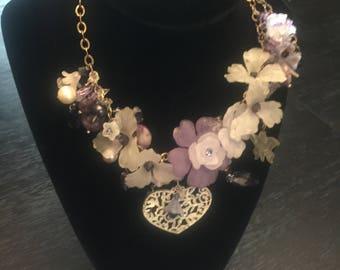 Purple Flower Lampwork Necklace, Handmade flower necklace