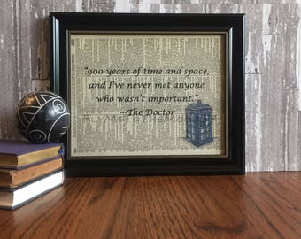 Dr Who ~ Inspirational Quote Dictionary Page Art Print ~ Stephen Moffat Matt Smith Quotes Print Art on 8x10 upcycled dictionary page