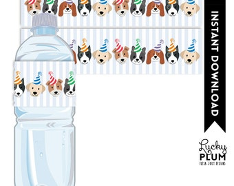 Dog Water Bottle Label / Puppy Water Bottle Label / Doggie Water Bottle Label / Dog Napkin Ring / Puppy Napkin Ring / Canine / DIY Printable