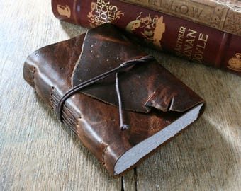 """Leather Journal . Walt Whitman quote - """"These are the days that must happen to you"""" . handmade handbound . dark distressed brown (320 pgs)"""