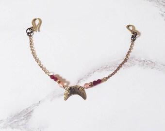 Crescent moon bracelet, brass & pink gemstones, strawberry quartz roots of ruby, celestial bracelet moon