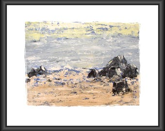 seascape fine art print blue tan yellow sea sand rocks from my original painting 17 by 11 inches home decor wall decor