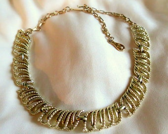 Jewelry - Vintage Coro -Choker - Necklace - Signed - Goldtone - Linked Rope Design - Hook and Loop Closure - 1960s
