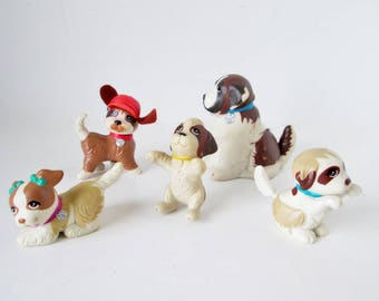 Littlest Pet Shop Puppy Pool 1993 Beethovens 2nd Assortment Complete 5 Dog Animals, St Bernard Beethoven, Mo, Dolly, Tchaikovsky, Chubby