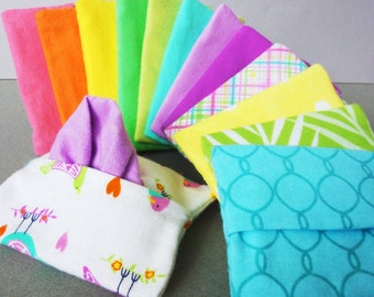 Ladies Handkerchief Reusable Tissue Cozy Set -Custom Travel Size Womens Hankies Flannel Tissue Case -Mothers Day Gift for Mom -Soft Hanky