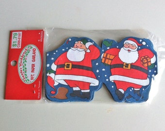 9 Ft. Santa Claus Paper Garland By Santa's Workbench , Retro Vintage Christmas Tree Trim Made in Taiwan , NOS Sealed in Original Package