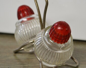 Vintage Salt & Pepper Shaker Set in Metal Caddy