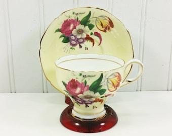 Paragon Yellow Pedestal Tea Cup and Saucer, Double Warrant Floral Spray Tulip Roses Tea Set