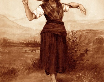 coffee art, The Shepherdess, painted using only coffee, espresso, paint, rustic, farmer , romantic,