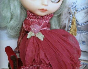OOAK BLYTHE DRESS - Vintage Styled Shabby Elegance Tattered/Layered/Hand-Dyed Silk Dress  - Vintage Burgundy