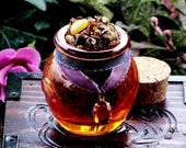 ANCIENT AMBER PATCHOULI™ Rich Resin Gemstone Incense w/ Dark Amber, Fossil Amber in Fiery Orange Honey Pot Jar w/ Faceted Glass Topaz Charm