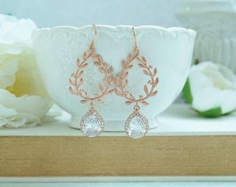 Laurel Wreath Earring Cubic Zirconia Gold Plated Chandelier Earrings Wedding Earring Bridesmaid Gifts Rose Gold Clear Cubic Zirconia Wedding