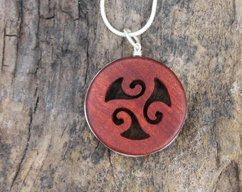 Triskelion Celtic Pendant, Unique Gift From Ireland, Red Wood Celtic Spiral Necklace, Hand Carved Celtic Jewelry, Triskele Necklace