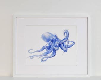 Blue Octopus Watercolor Limited Edition Art Print in a Mount Kit Ready to Frame Beach House Style Decor