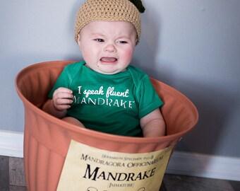 Baby MANDRAKE HAT Harry Potter Inspired  Crochet Hogwarts Herbology newborn baby toddler costume cosplay beanie cap gryffindor photo prop