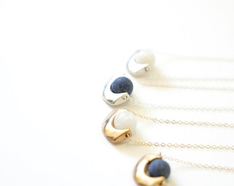 Dudleya Necklace - Sterling Silver or Bronze Cast Pendant with Lapis or Moonstone