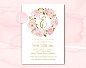 Bridal Shower Invitation Printable, Printable Bridal Shower Invitation, Bridal Shower Invite, Rose Bridal Shower Invitation, Wreath Invite