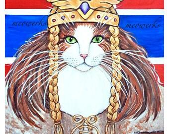 Cat T-Shirt Long Sleeved, Norwegian Forest Cat, Freya Goddess of Love and War