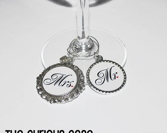 Mr. and Mrs. Wine Charm Set Wedding Anniversary Set Wine Glass Marker