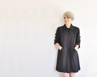 1940 noir black rayon coat . industrial secretary short swing jacket .small.medium .sale