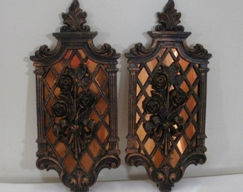 Vintage Copper Backed Rose Wall Plaques - Coppercraft Guild